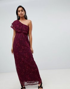 Read more about Vila one shoulder lace detail maxi dress in burgundy
