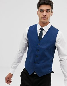 Read more about French connection slim fit linen waistcoat - blue