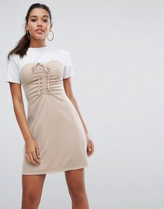 Read more about Asos mini dress with ruched bodice - nude