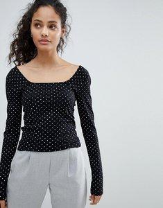 Read more about Bershka square neck polka dot long sleeve tee - black