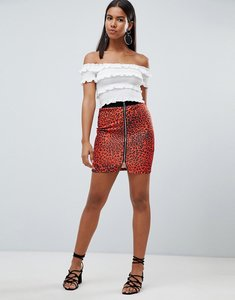 Read more about Rare london leopard printed zip printed zip front mini skirt - red black