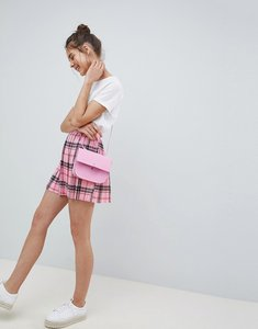 Read more about Asos design pleated mini skirt in pink check - multi