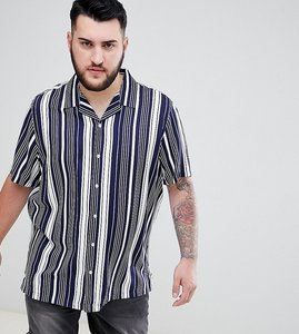 Read more about Asos design plus regular fit stripe shirt - blue
