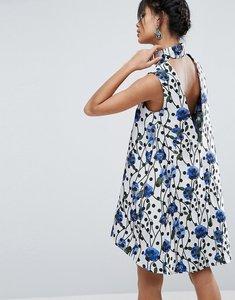 Read more about Asos spot jacquard aline mini dress - multi