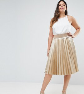 Read more about Elvi premium metallic pleated skirt - gold