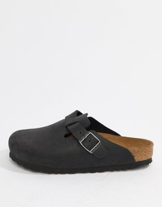 Read more about Birkenstock boston leather mule flat shoes - black leather