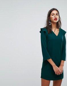 Read more about Mango frill shoulder v-neck dress - green