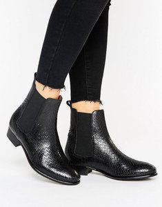Read more about H by hudson leather flat chelsea boot - black reptile