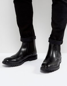 Read more about Base london bosworth leather brogue chelsea boots in black - black