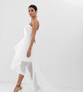 Read more about Bariano bridal bandeau organza high low hem maxi dress in white