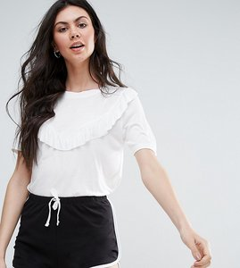 Read more about Brave soul tall t-shirt with frill detail - cream