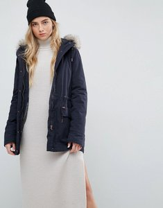 Read more about Parka london alana faux fur trim parka coat - navy