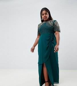 Read more about Virgos lounge plus ariann embellished maxi dress with frill wrap skirt in emerald green - emerald gr