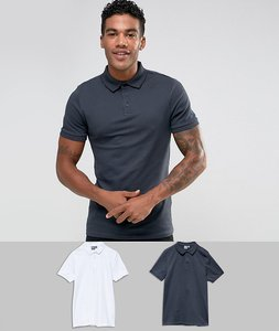 Read more about Asos muscle fit pique polo 2 pack save - atlantic white