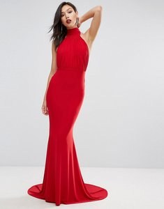 Read more about Club l high neck pleated detail fishtail maxi dress - red