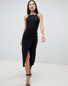 Read more about Ax paris wrap front sqaure neck maxi dress with sequin detail - black