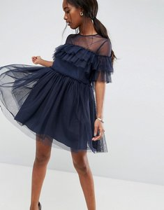 Read more about Asos tulle ruffle mini dress - navy