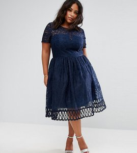 Read more about Chi chi london plus premium lace dress with cutwork detail and cap sleeve - navy