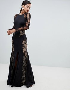 Read more about Forever unique lace panelled maxi dress - black