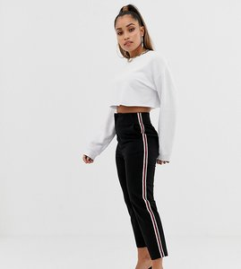 Read more about Asos design petite cigarette trousers in black with side stripe