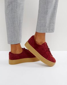 Read more about Asos day light suede lace up trainers - burgundy