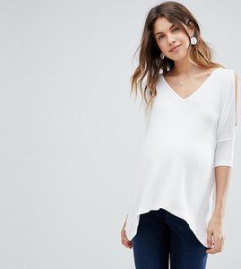 Read more about Asos maternity oversized cold shoulder top with asymmetric hem - white