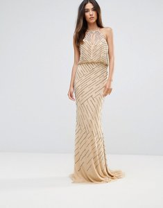 Read more about Forever unique all over embellished maxi dress with drape back - nude