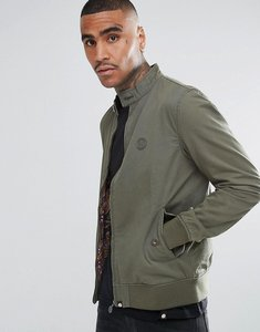 Read more about Pretty green cotton harrington jacket with printed paisley lining in green - khaki