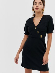 Read more about Asos design mini textured pencil dress with faux horn buttons