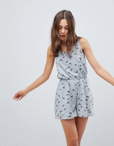 Read more about Brave soul swoop playsuit in bird print - grey marl charcoal