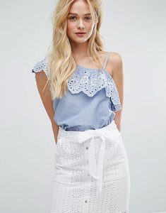 Read more about Miss selfridge one shoulder cutwork top - blue