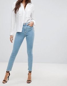 Read more about Asos design ridley high waist skinny jeans in bright light stone wash - mid wash blue