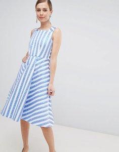 Read more about Closet london striped midi prom dress - blue
