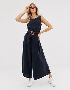 Read more about Asos design soft denim belted wide leg jumpsuit