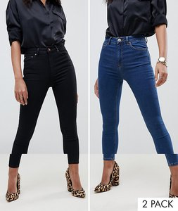 Read more about Asos design ridley skinny jeans 2 pack in black and mid blue wash - multi