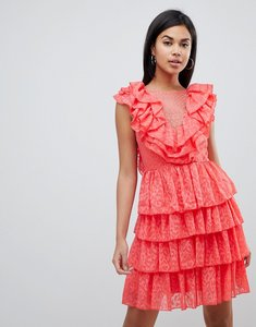 Read more about Y a s ruffle lace up mini dress - pink