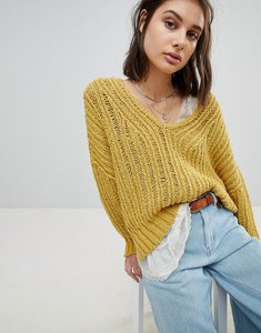 Read more about Free people oversized open knit jumper - chartreuse