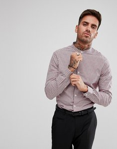 Read more about Asos smart stretch slim poplin check shirt with grandad collar - white