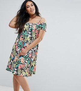 Read more about Asos curve cold shoulder sundress with frill detail in tropical print - multi