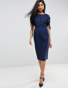 Read more about Asos split sleeve midi pencil dress - navy