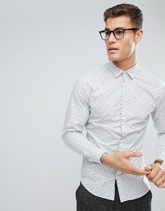 Read more about Selected homme slim shirt in floral print - white