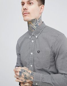 Read more about Fred perry micro gingham shirt in black - black