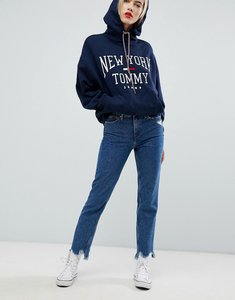 Read more about Tommy jeans high rise slim izzy jeans with distressed hem - ollie mid blue
