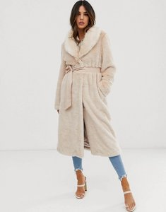 Read more about Asos plush faux fur maxi coat with belt - blush