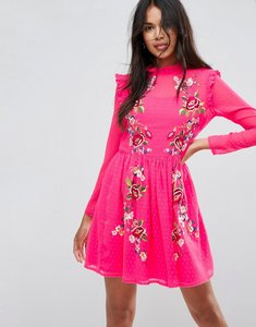 Read more about Asos pretty embroidered mini skater dress on dobby - pink