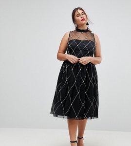 Read more about Asos curve premium high neck pearl embellished midi prom dress - black