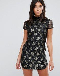 Read more about Ax paris lace metallic leaf shift dress - black gold