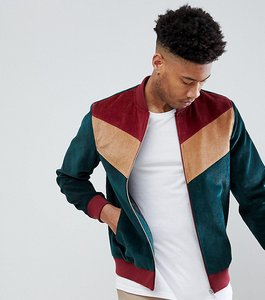Read more about Asos tall cord bomber jacket with chevron in green - green