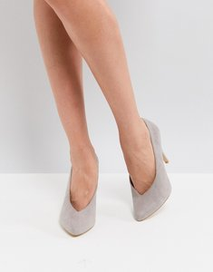 Read more about New look high vamp pointed court shoe - grey