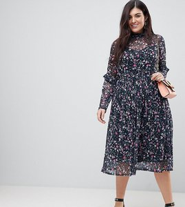 Read more about Asos curve mesh ditsy print midi skater dress with high neck - multi